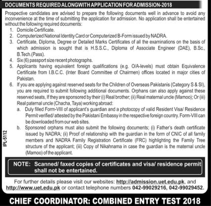 UET Lahore Admission 2019