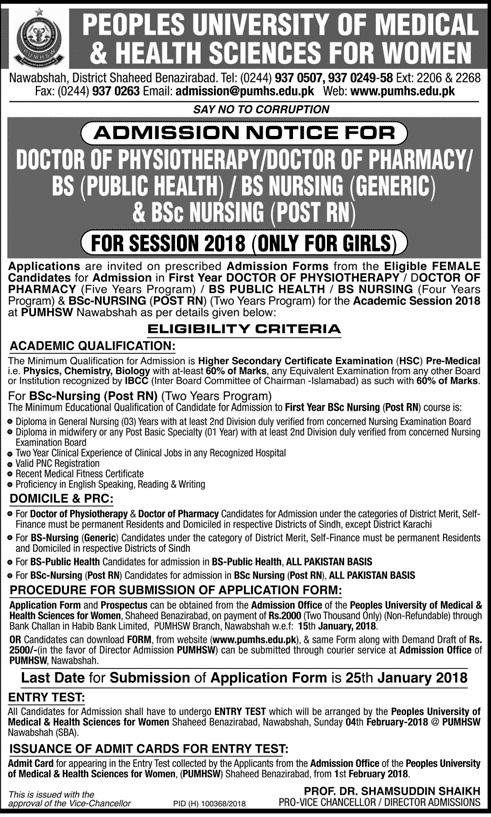 PUMHS Sindh University Admission Advertisement 2018