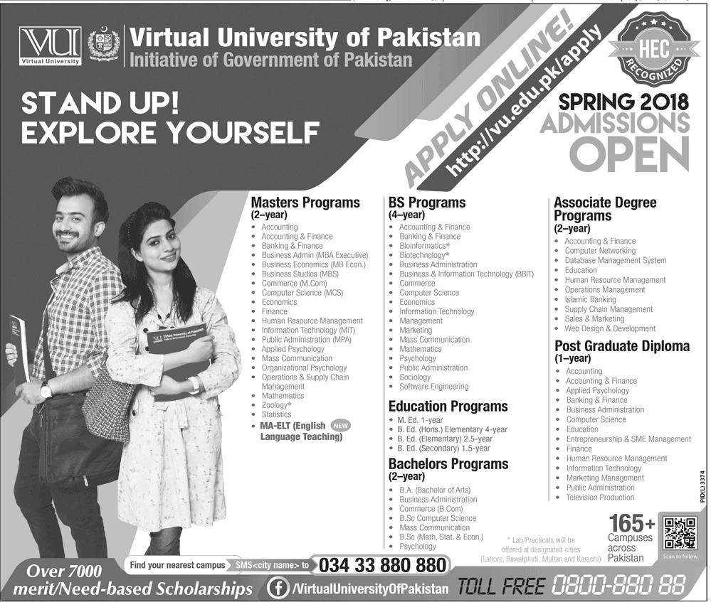 VU Admission Advertisement 2018