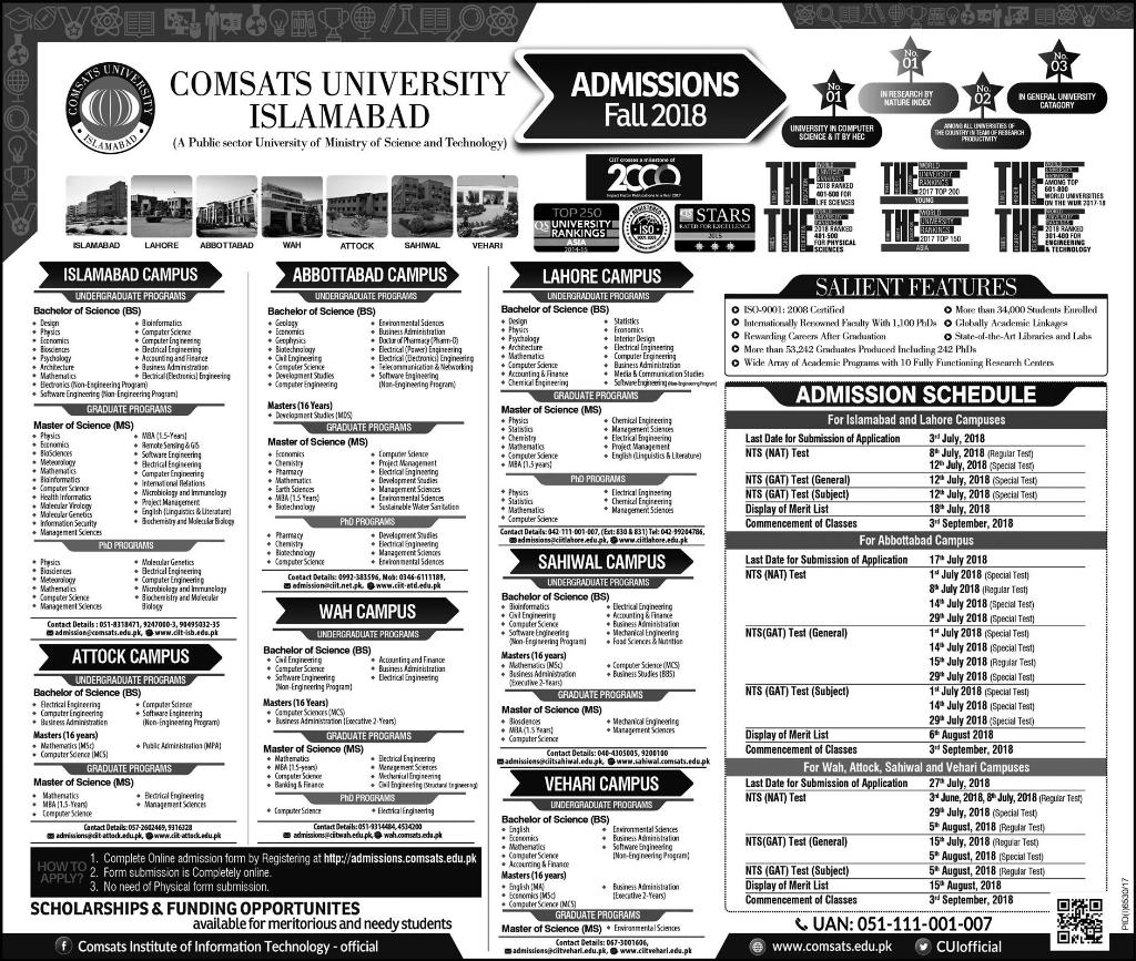 Admission Advertisement COMSATS ISB 2018