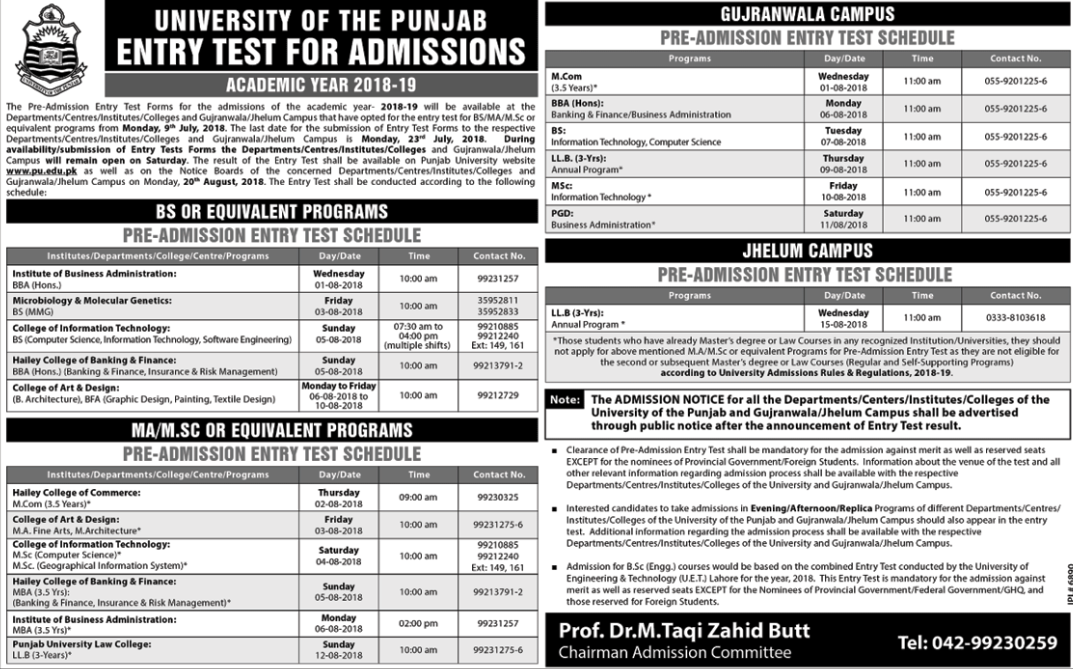 University of Punjab Admission Advertisement 2018