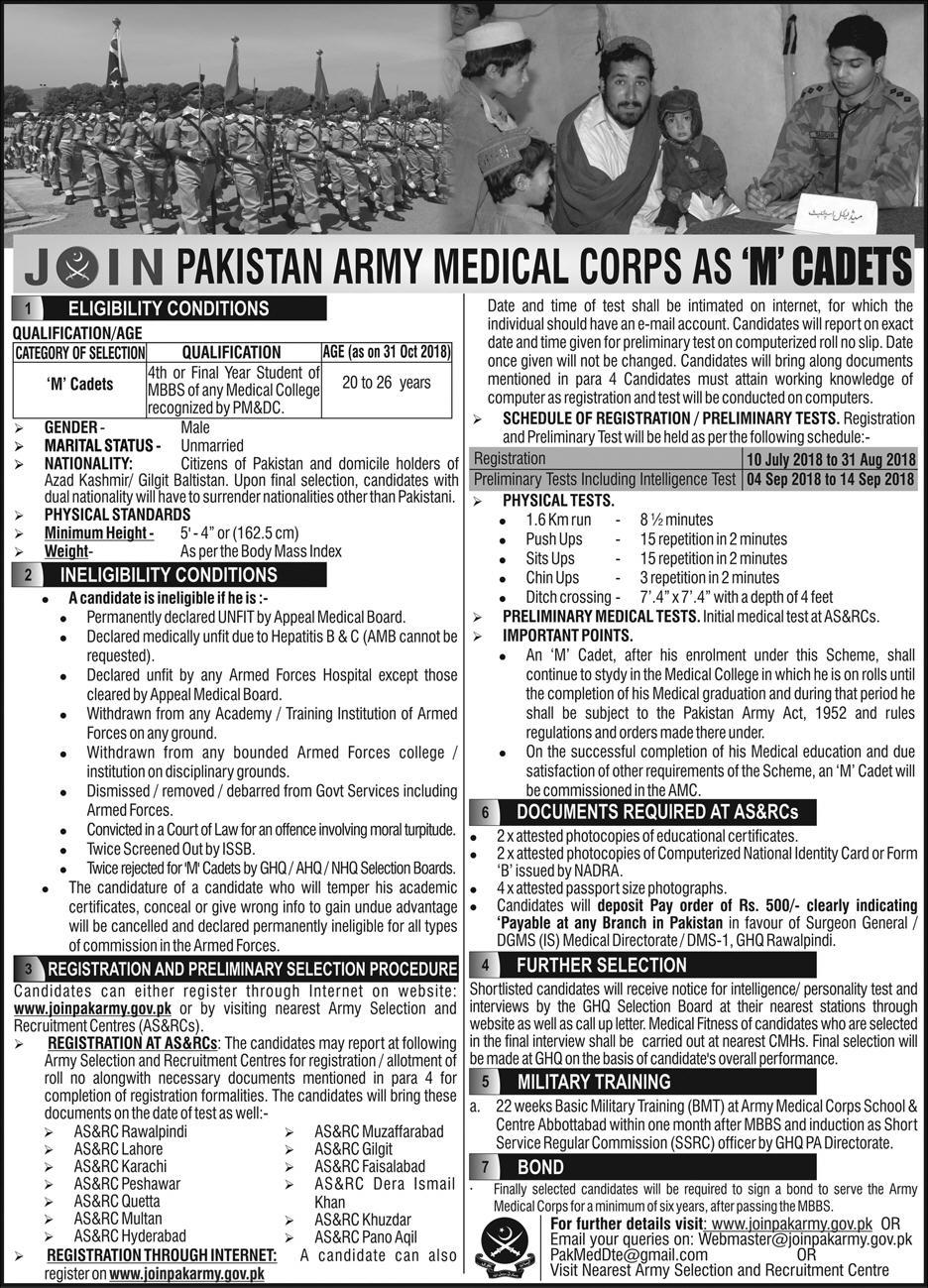 Join Pak Army as M Cadets