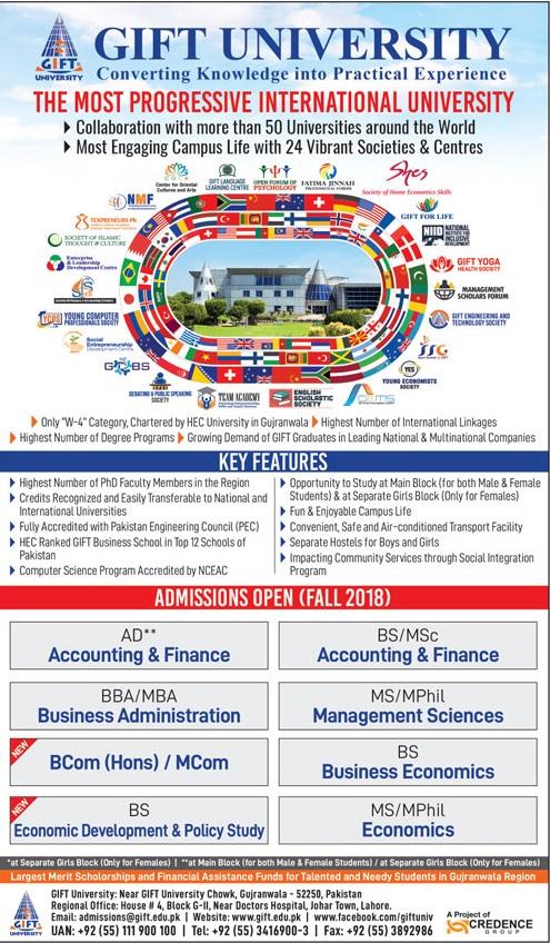 GIFT University Gujranwala Admission Advertisement 2018
