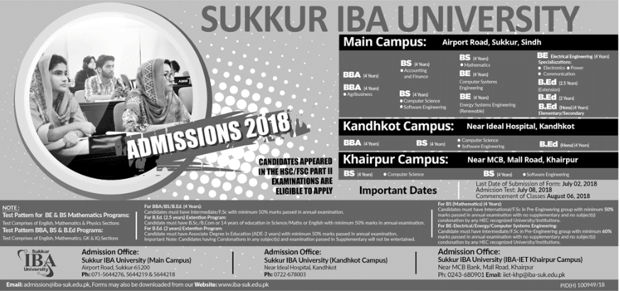 Admission Advertisement for BS, BBA, BEd, BE Admissions