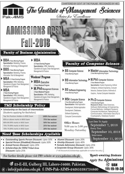 Pak-AIMS Lahore Admission Advertisement 2018