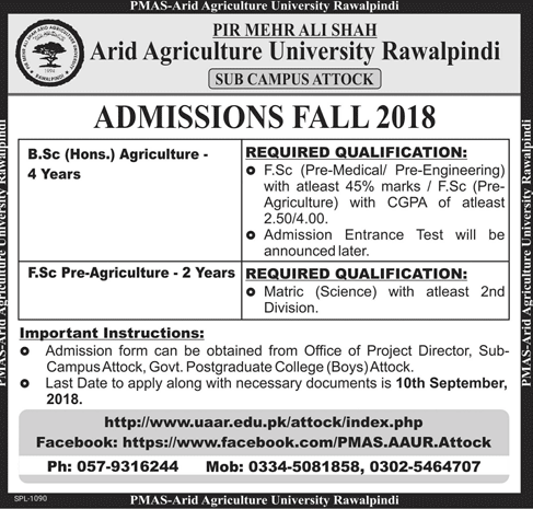 Arid Agriculture University Admission Advertisement 2018