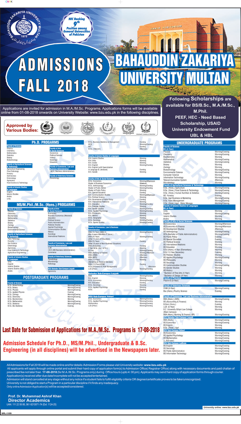 BZU Multan MA/MSc Admission Ad 2018