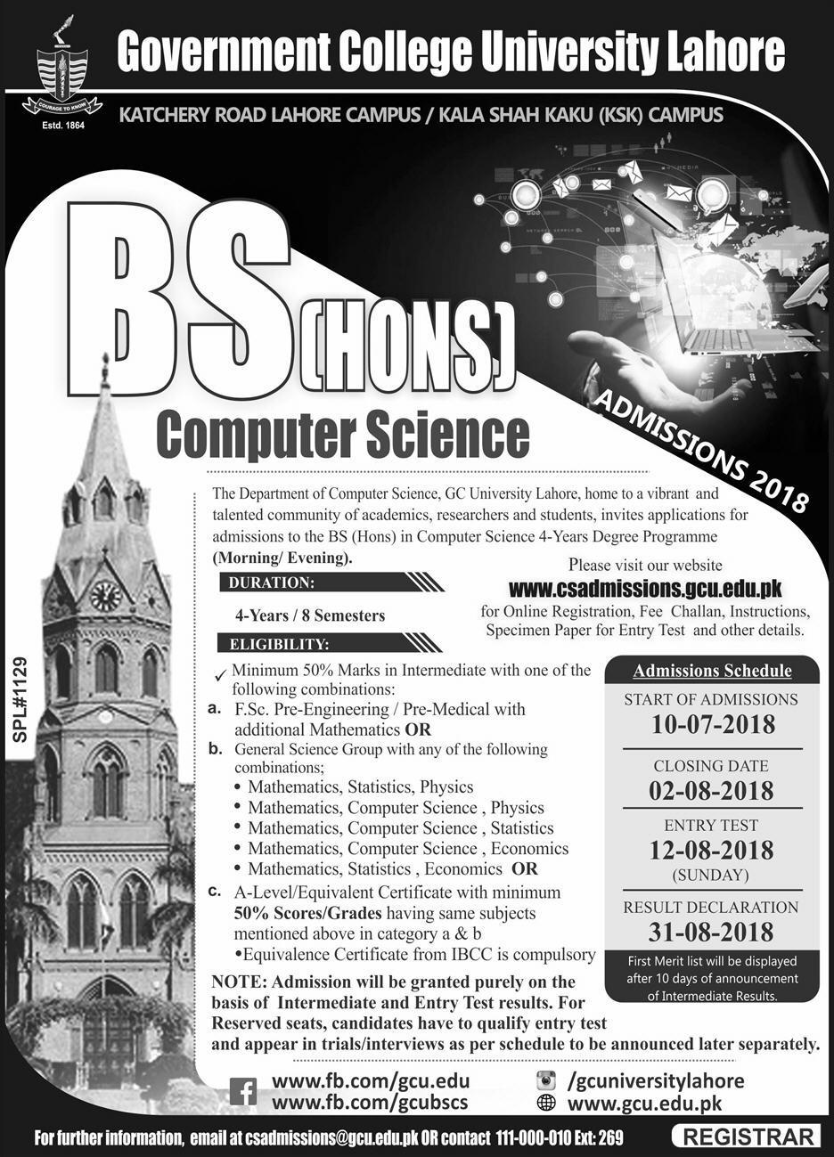 GCU Admission 2018 August Ad