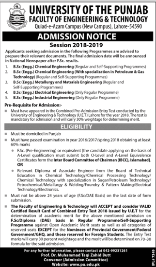 PU BSc Admission Advertisement