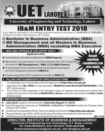 UET Lahore Admission advertisement for IB&M Entry Test