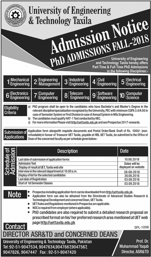 UET Taxila PhD Admission Advertisement 2018: