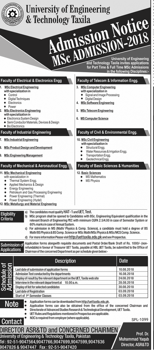UET Taxila Admission Advertisement 2018: