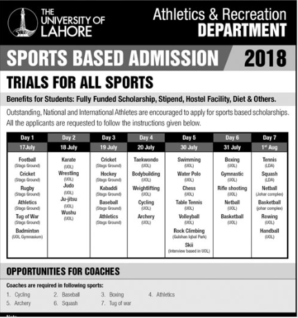 UOL Sports Base Admission 2018