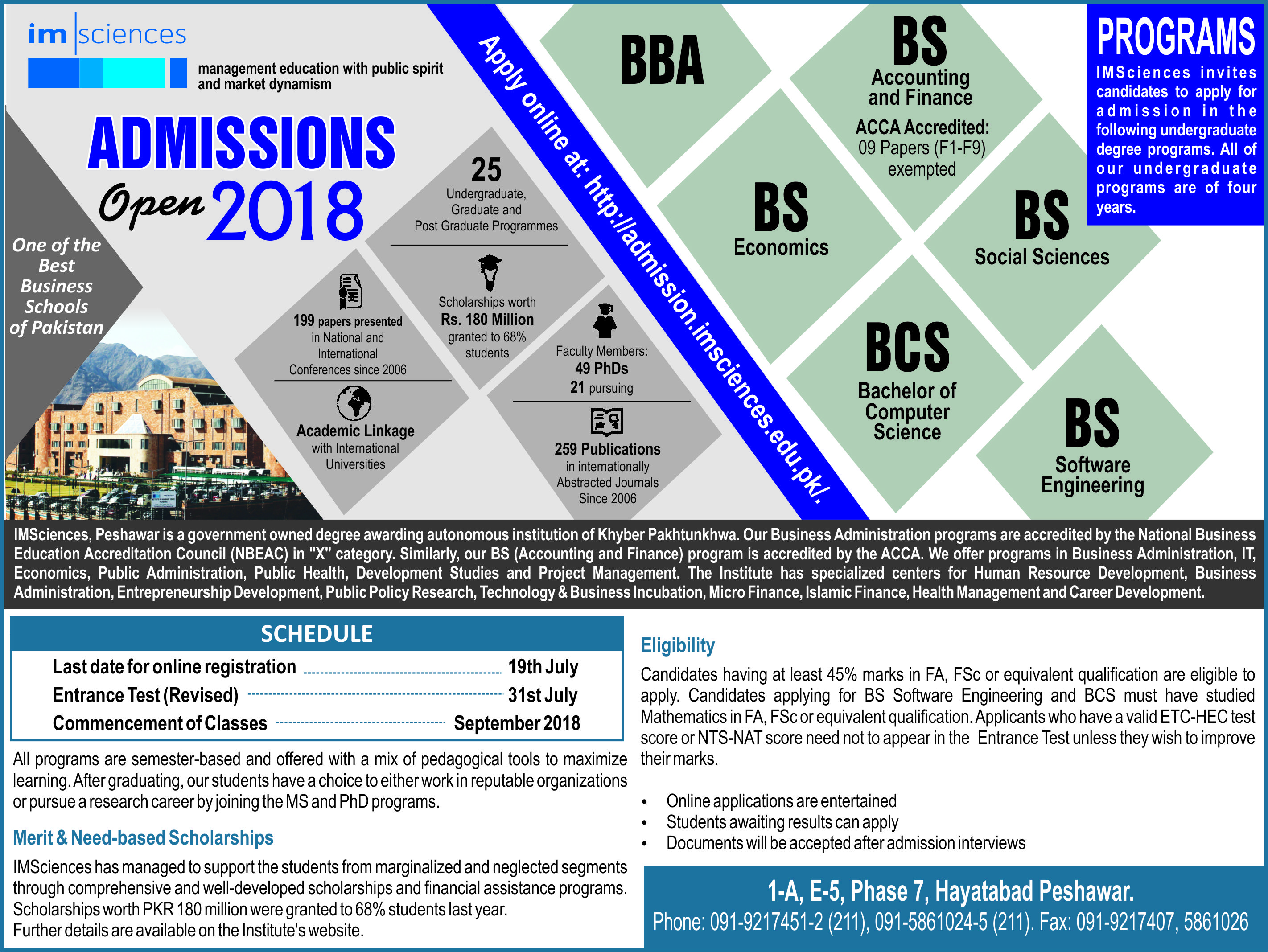 IMSciences Peshawar Admission Advertisement 2018