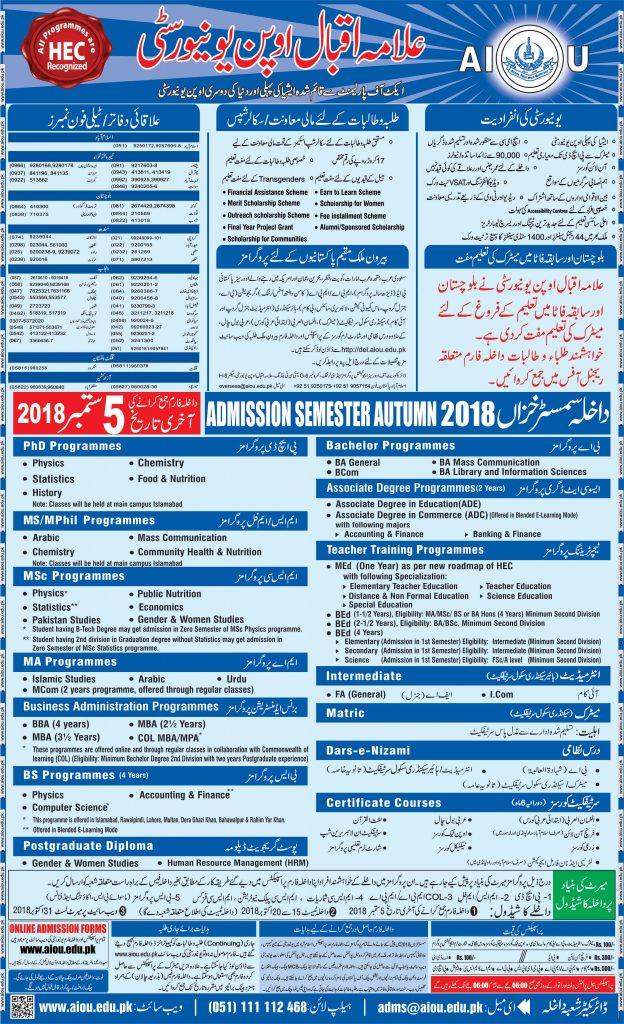 AIOU Admission 2018 Last Date