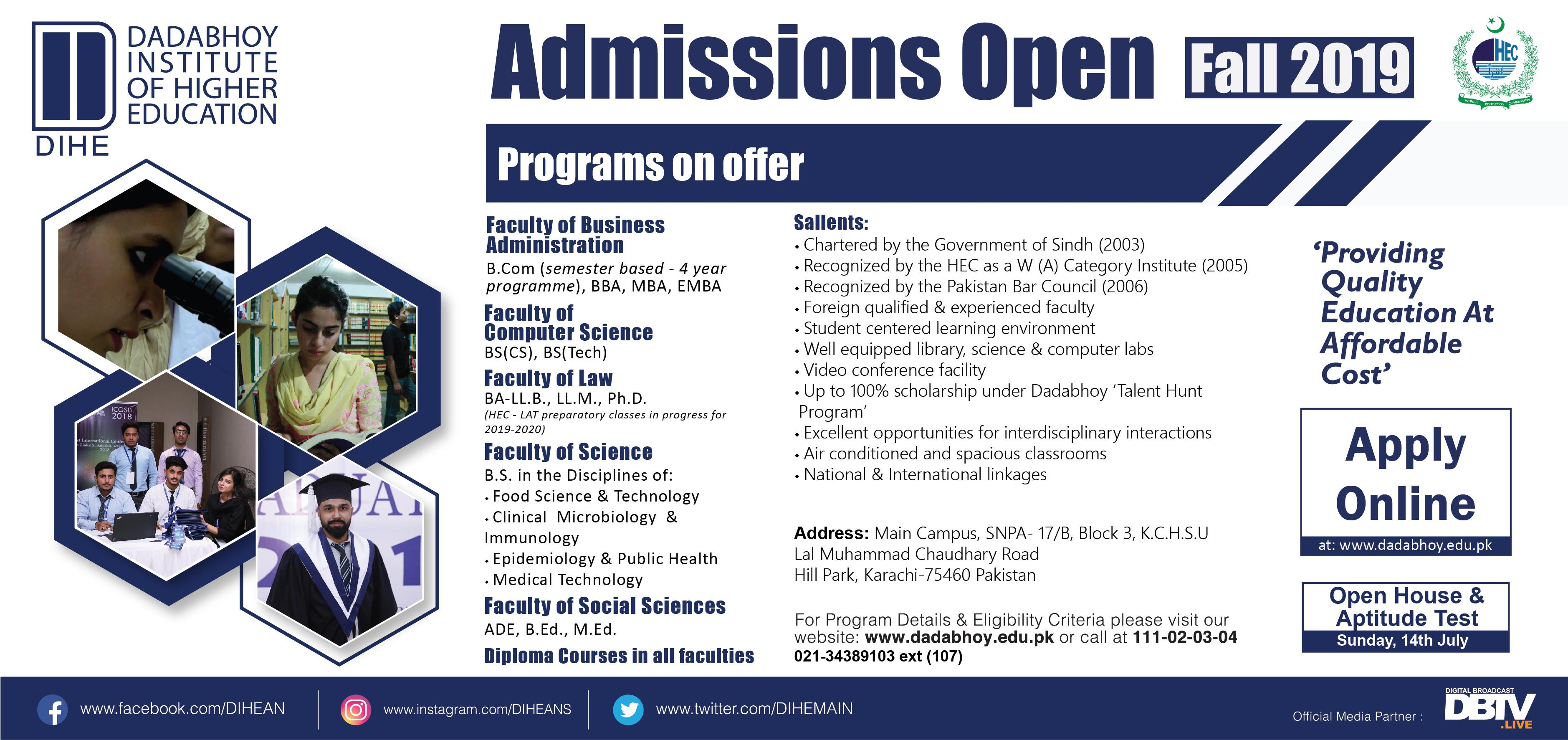 DIHE Karachi Admission Advertisement 2019