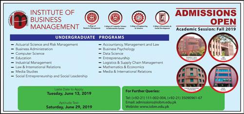 IoBM Admission Advertisement 2019