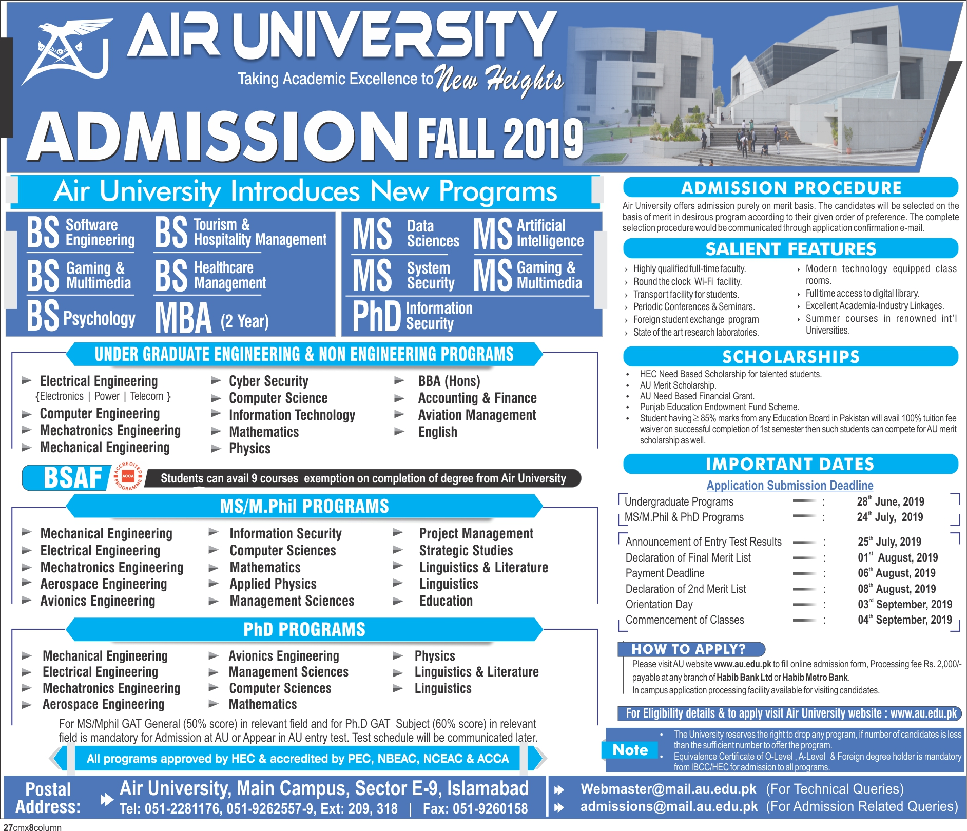 Air University Islamabad Admission Advertisement 2019