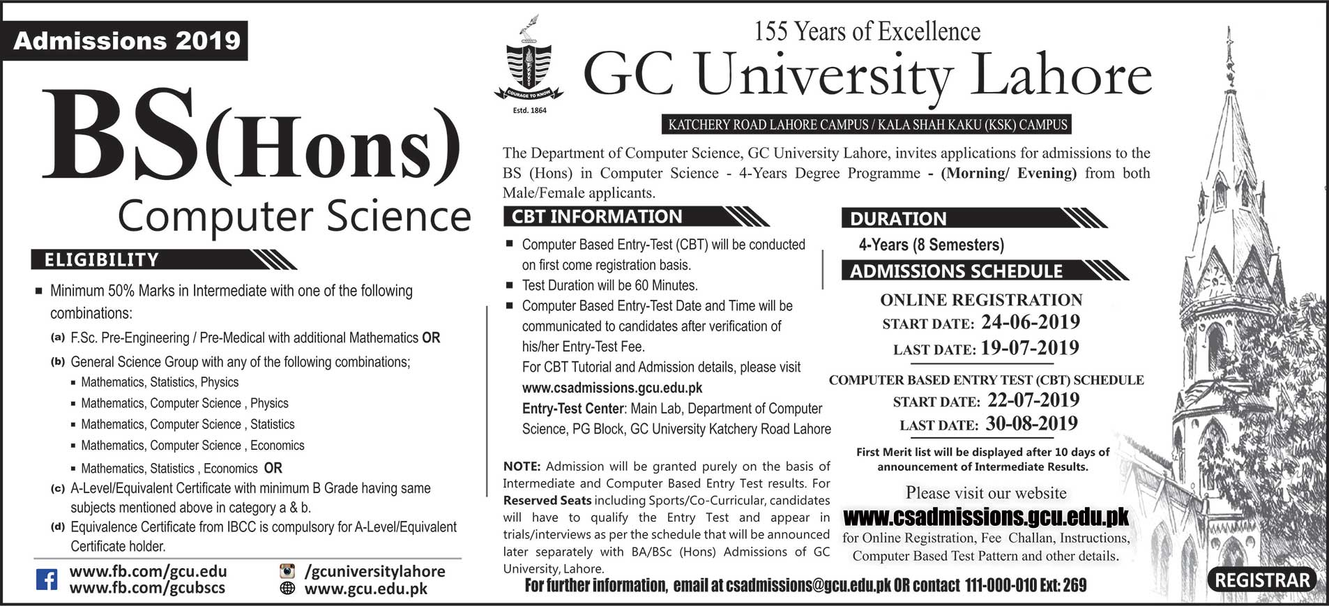 GC BSCS Admission 2019 Advertisement