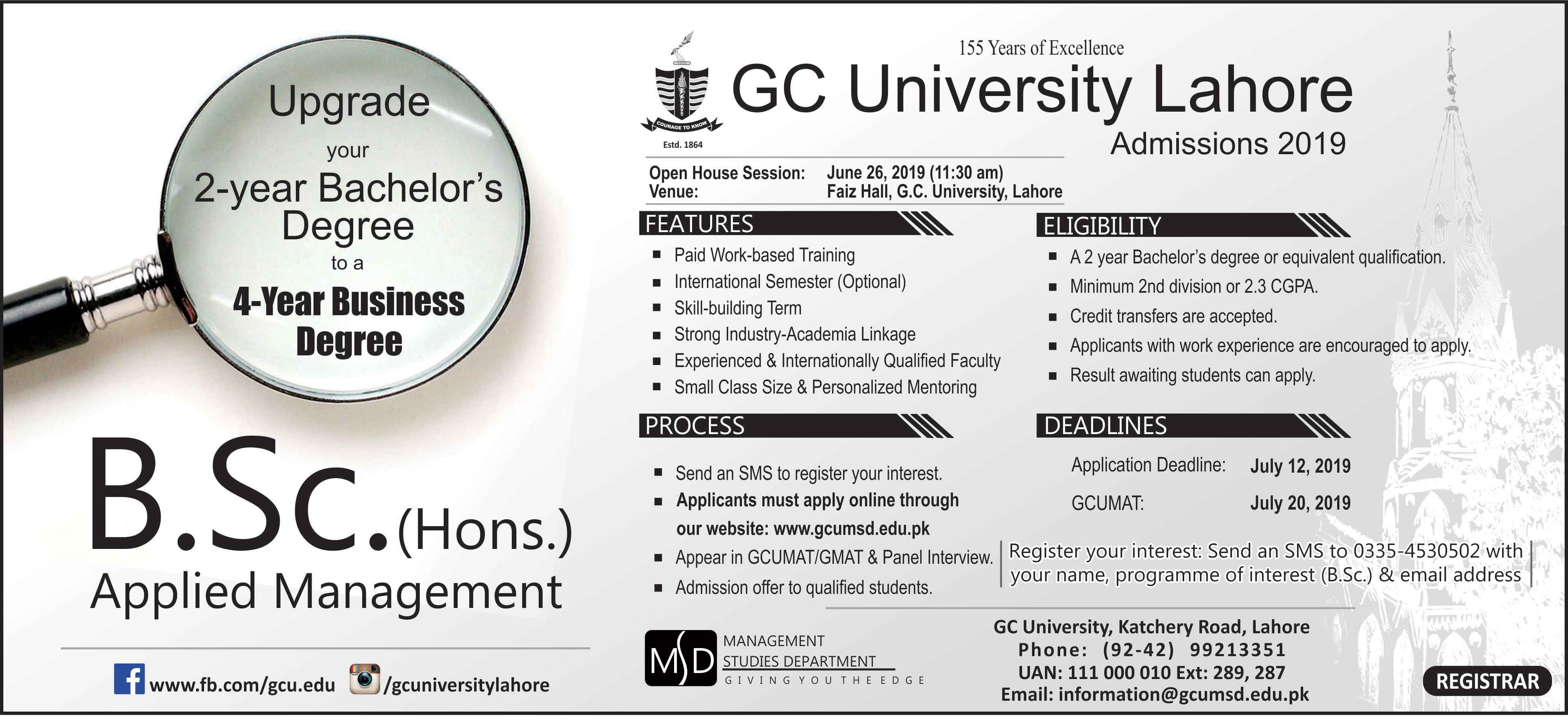 GC University Lahore Admission 2019 Last Date and Fee Structure