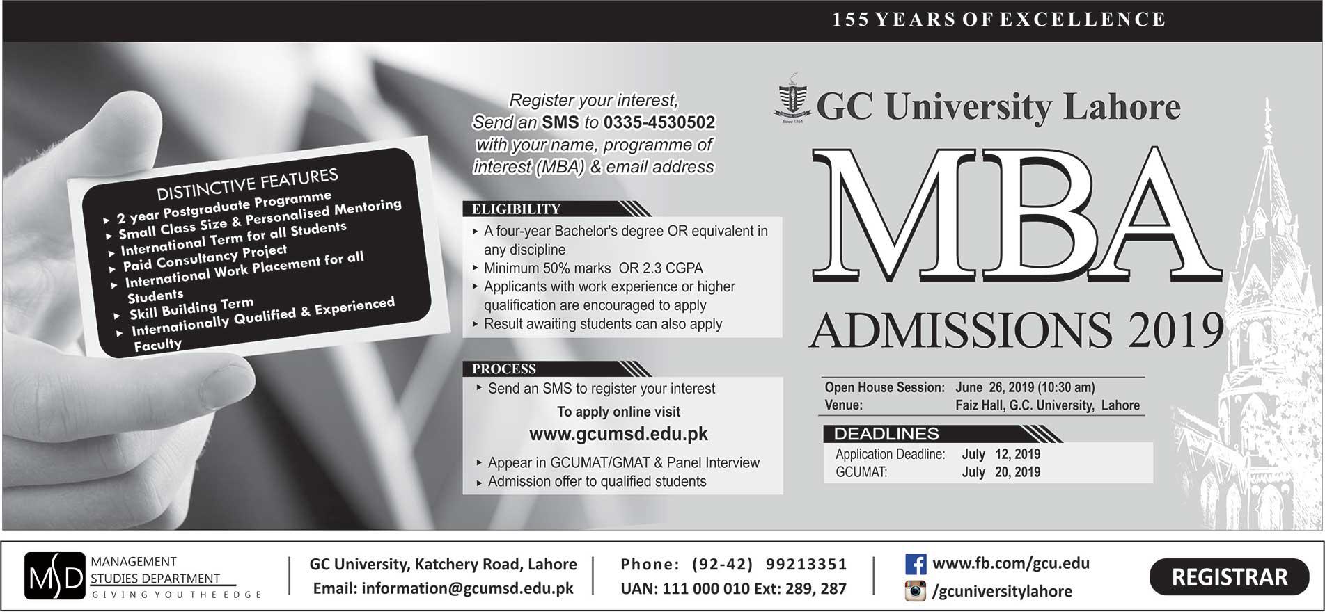 MBA Admission 2019 Advertisement GCU Lhr