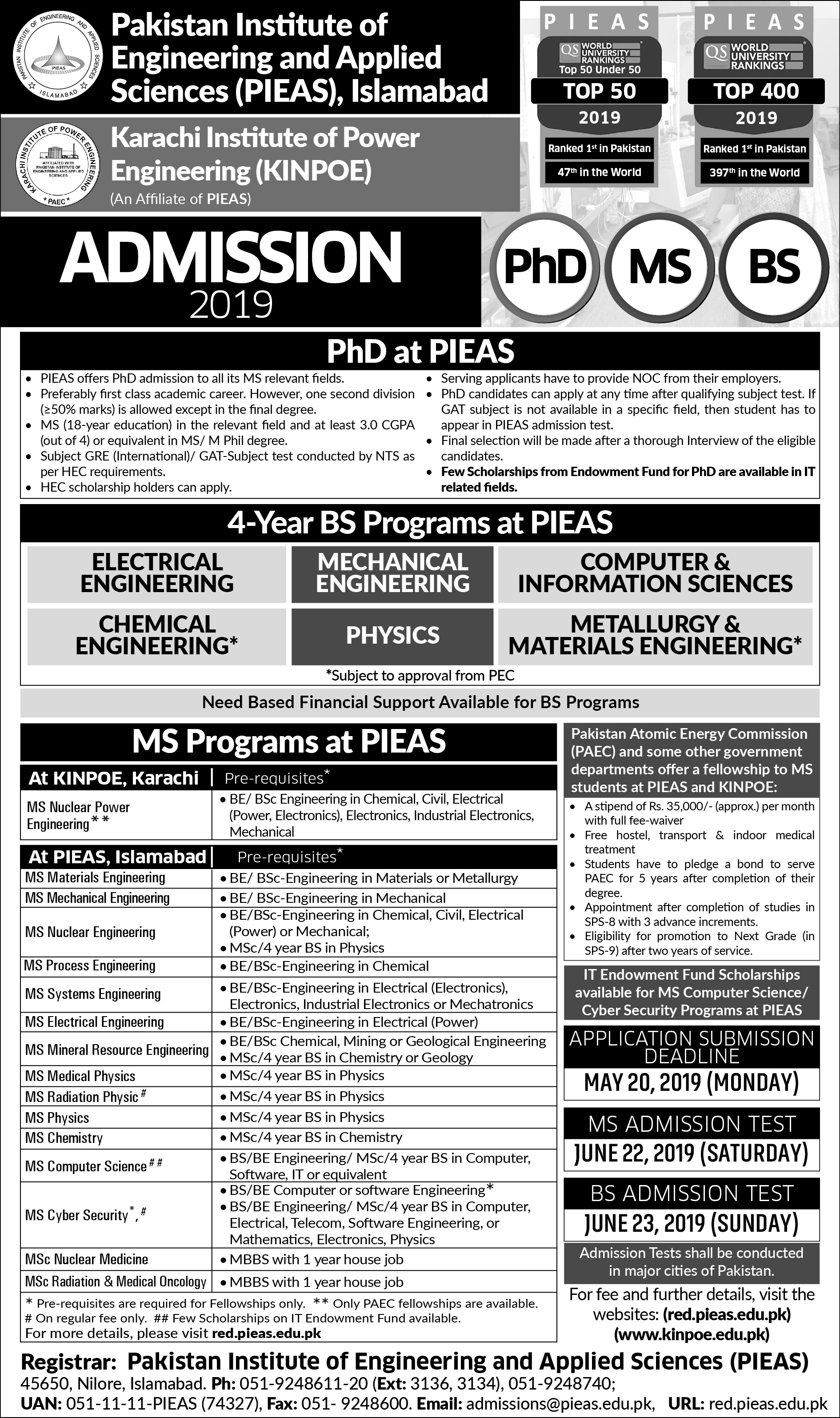 PIEAS Admission 2019 Last Date and Fee Structure