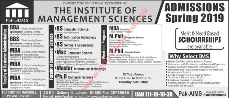 Pak-AIMS Lahore Admission Advertisement 2019