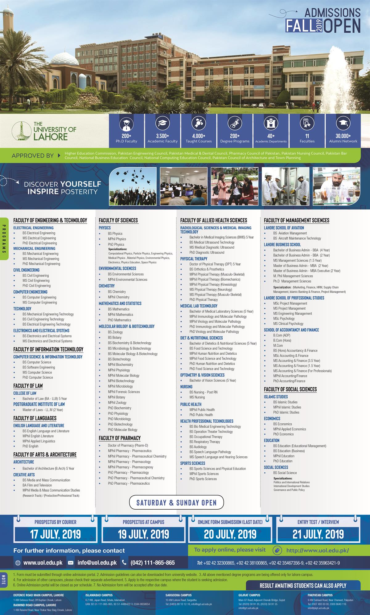 UOL Lahore Admission Advertisement 2019