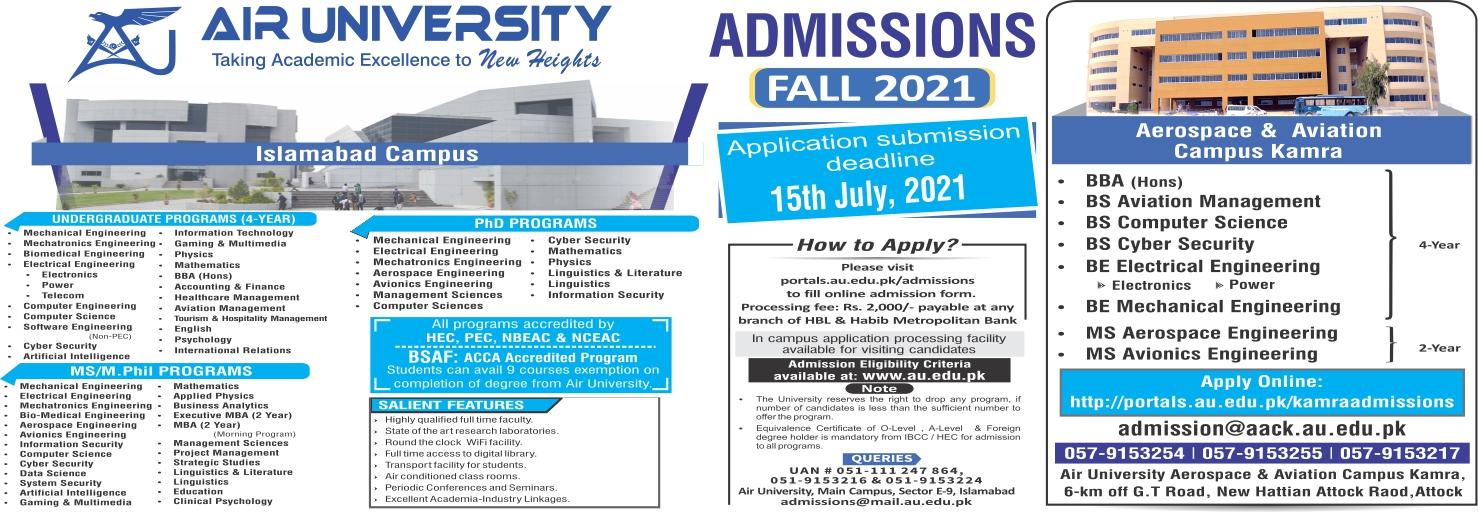 Air University Admission last date