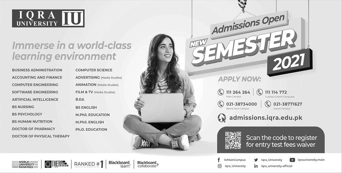 Iqra University Karachi Admission
