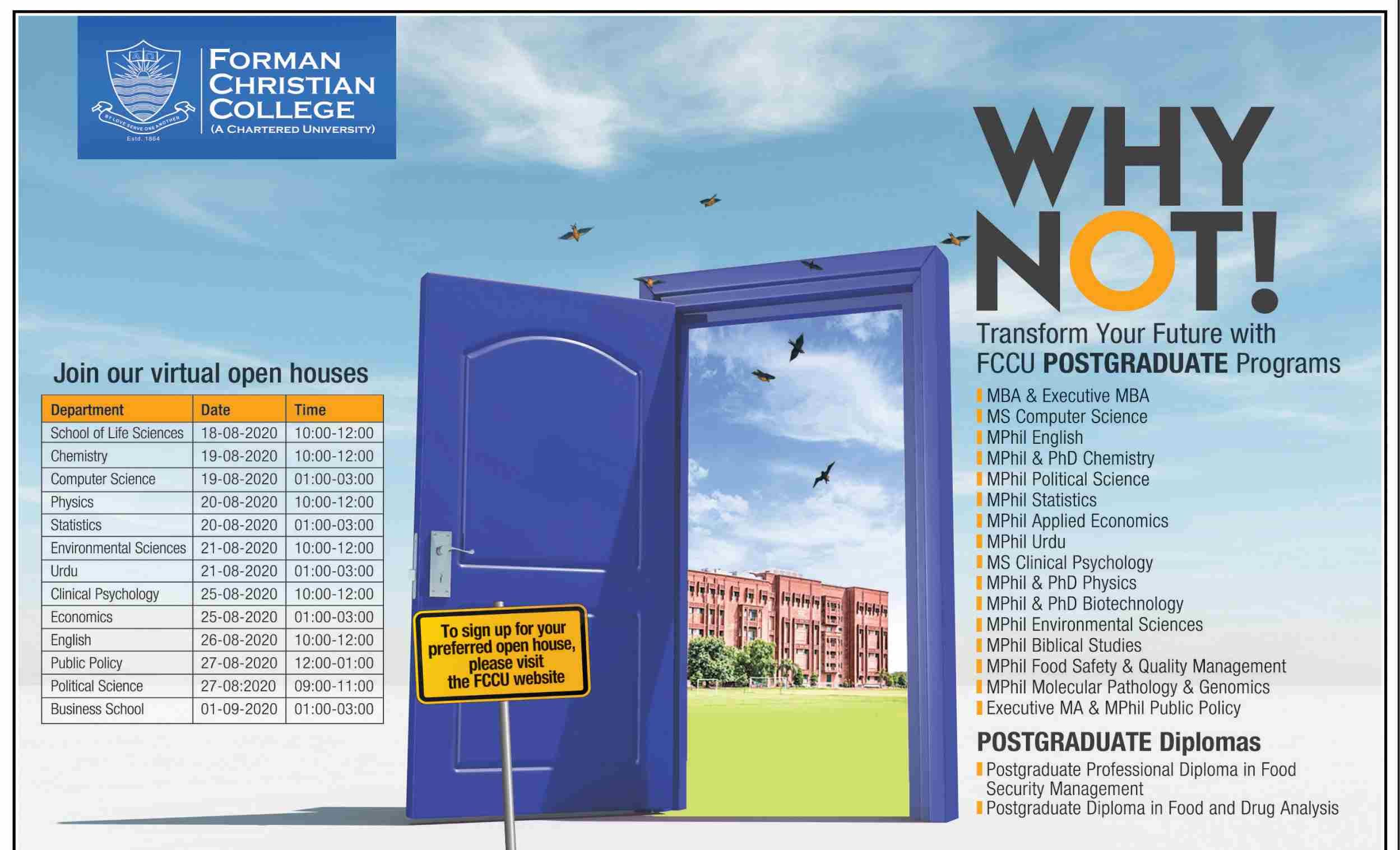 Forman Christian College Lahore Admissions Last Date