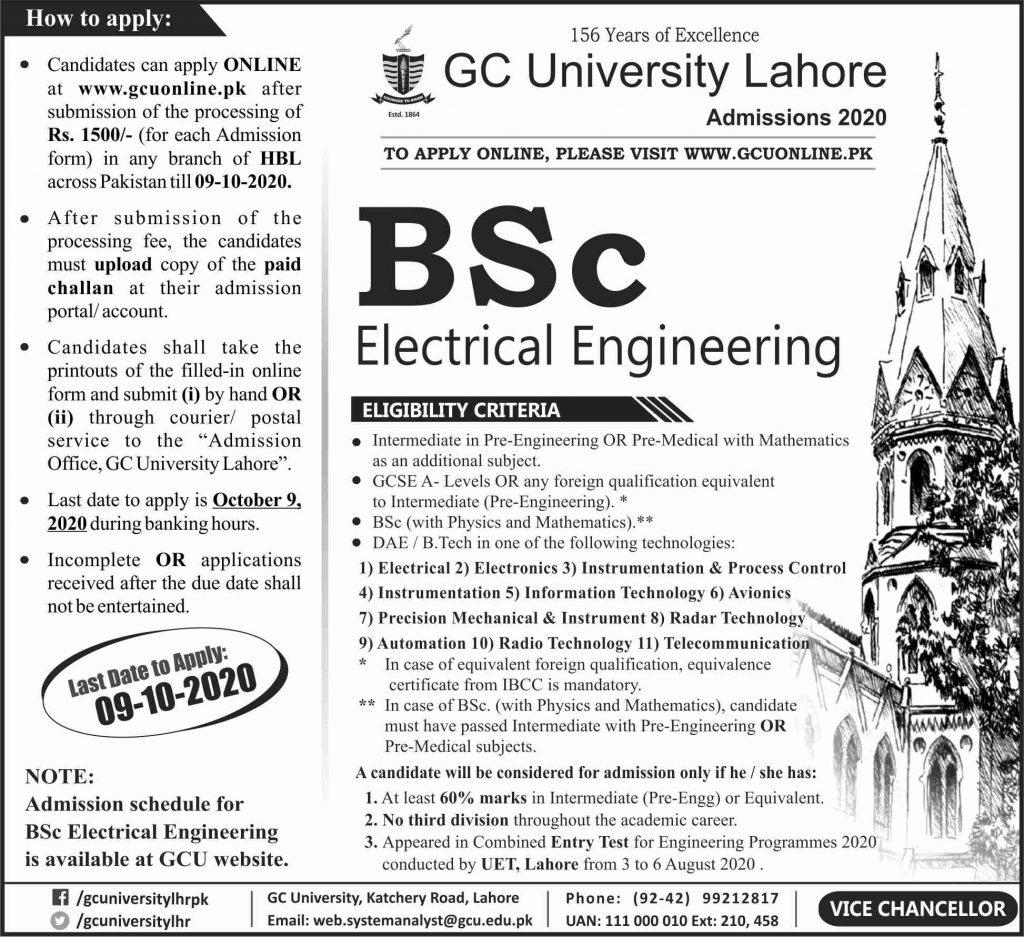 GCU B.Sc admission last date