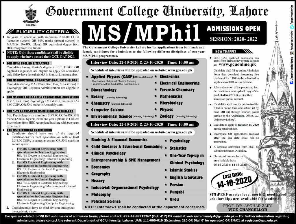 GCU MS, M.Phil. admission last date
