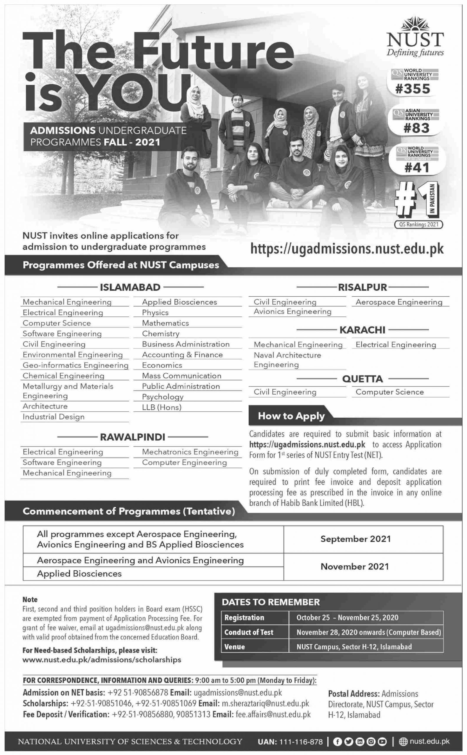 National University Of Science & Technology Islamabad Admissions advertisement