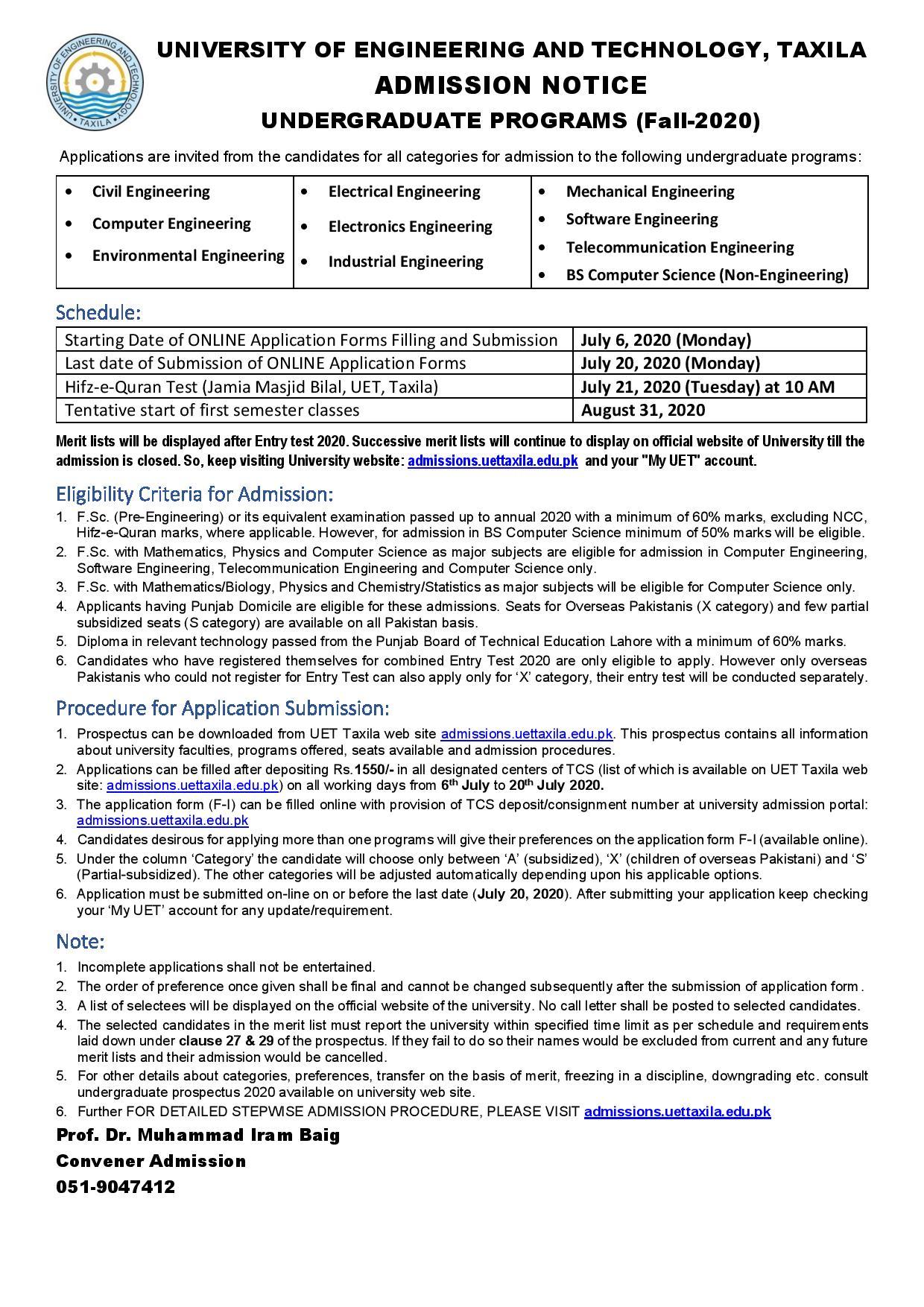 UET Taxila admission last date advertisement