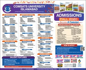 Comsats University Islamabad admission date and merit list