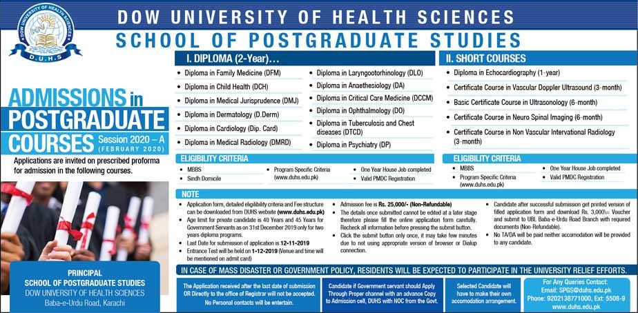 DUHS postgraduate admission advertisement last date