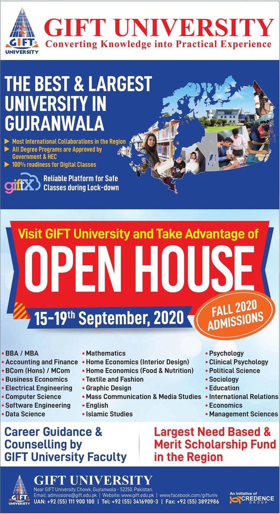 GIFT University Fall admission 2020 advertisement