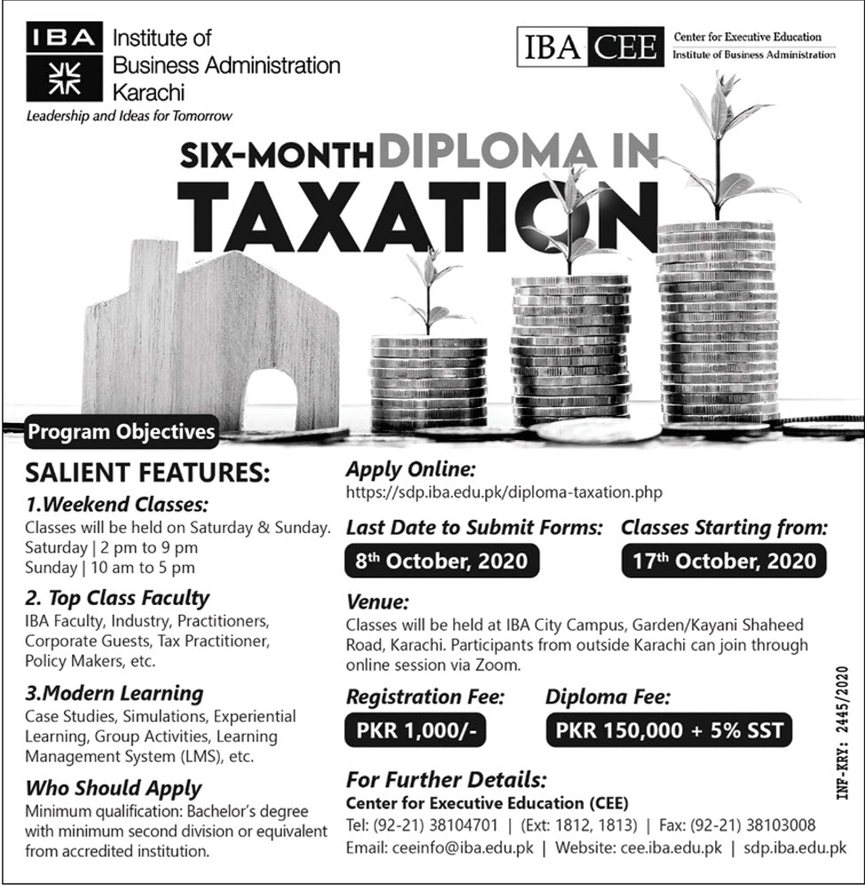 IBA Taxation admission advertisement