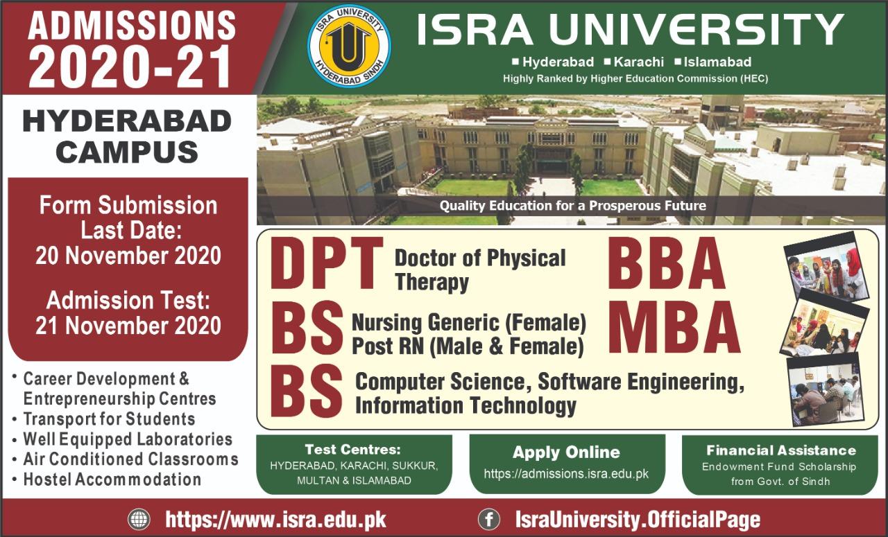 Isra University Admissions last date advertisement