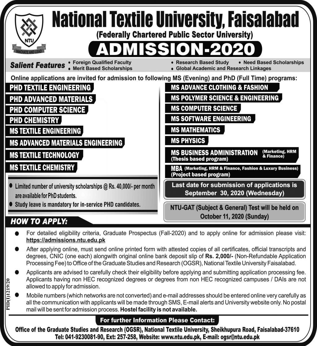 National Textile University Faisalabad Admissions advertisement