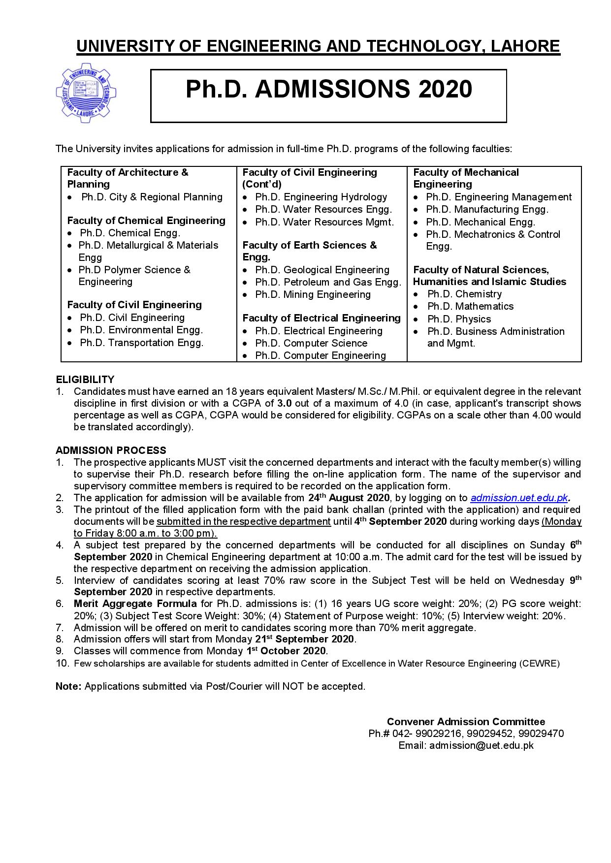 University Of Engineering & Technology Lahore Admissions PhD