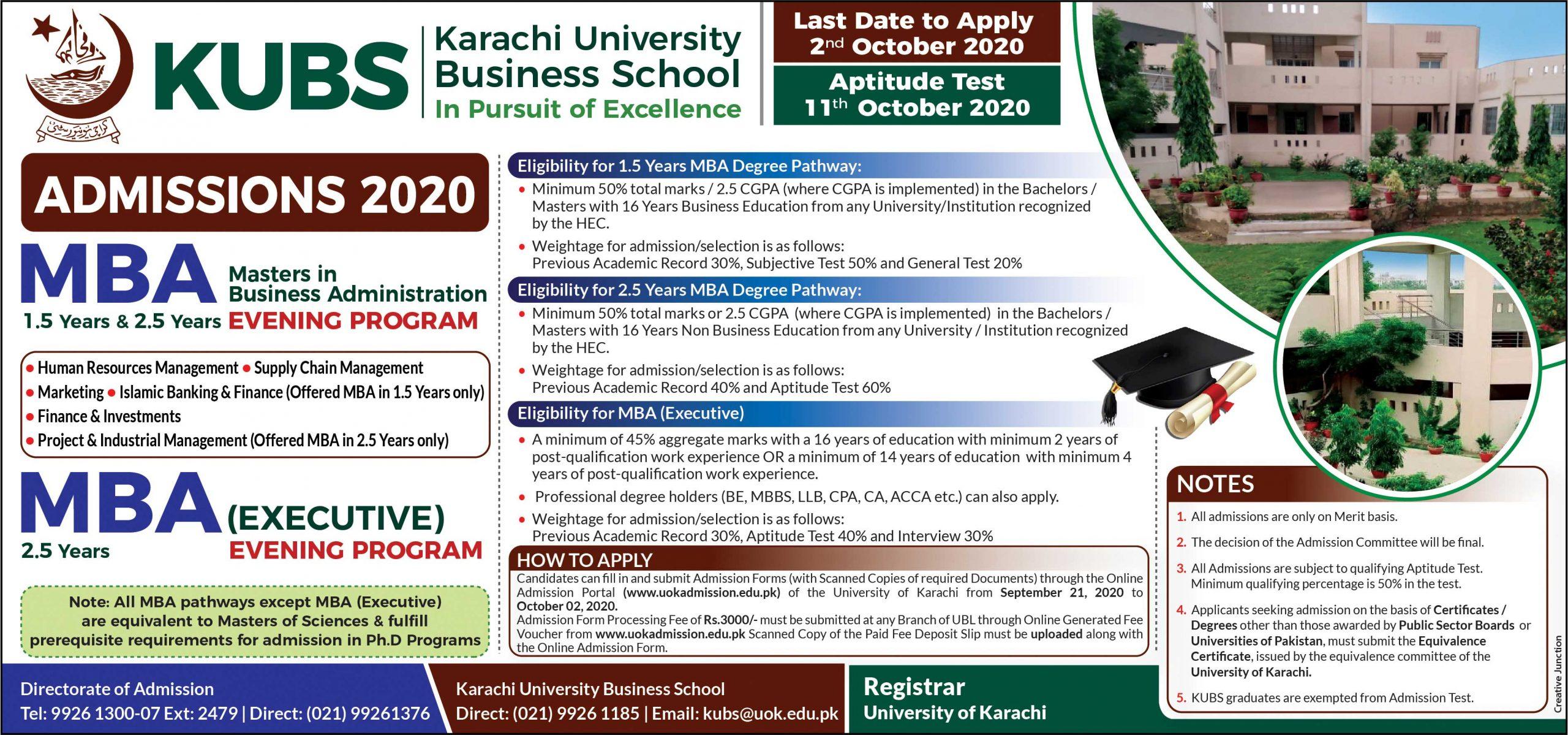 University of Karachi admission advertisement