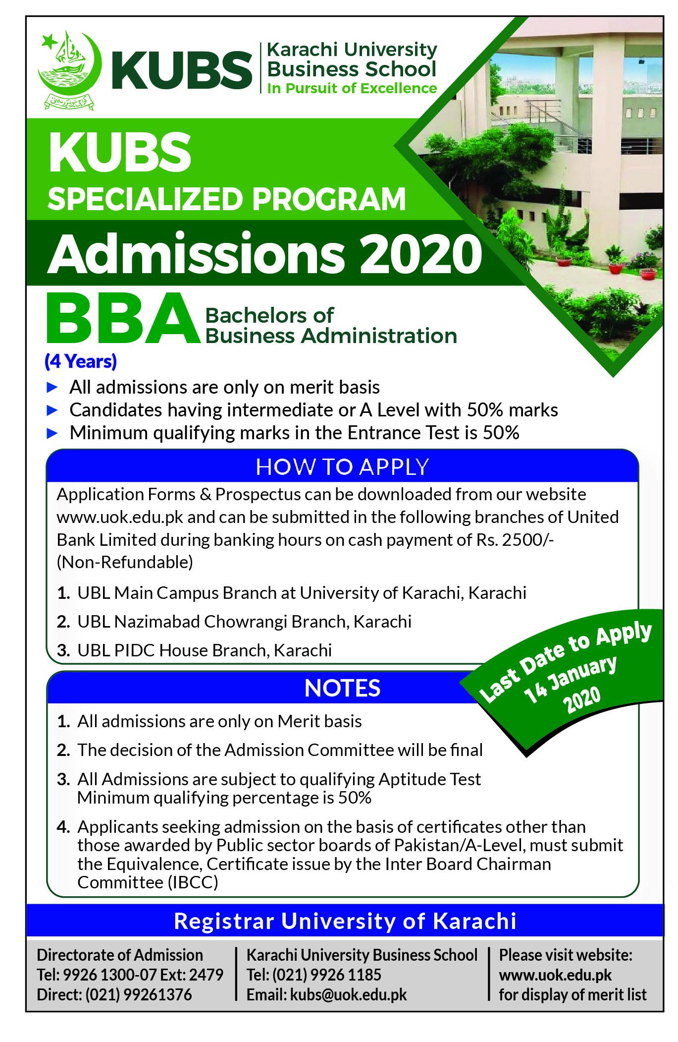 UOK BBA Admission advertisement