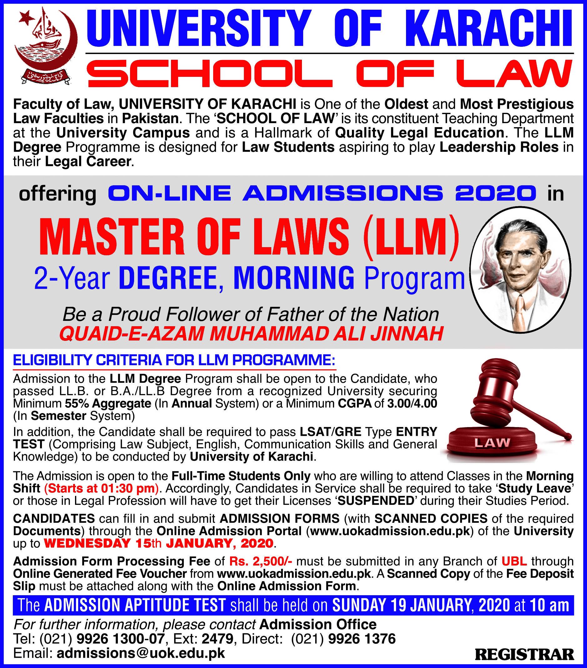 UOK LLM Admission advertisement