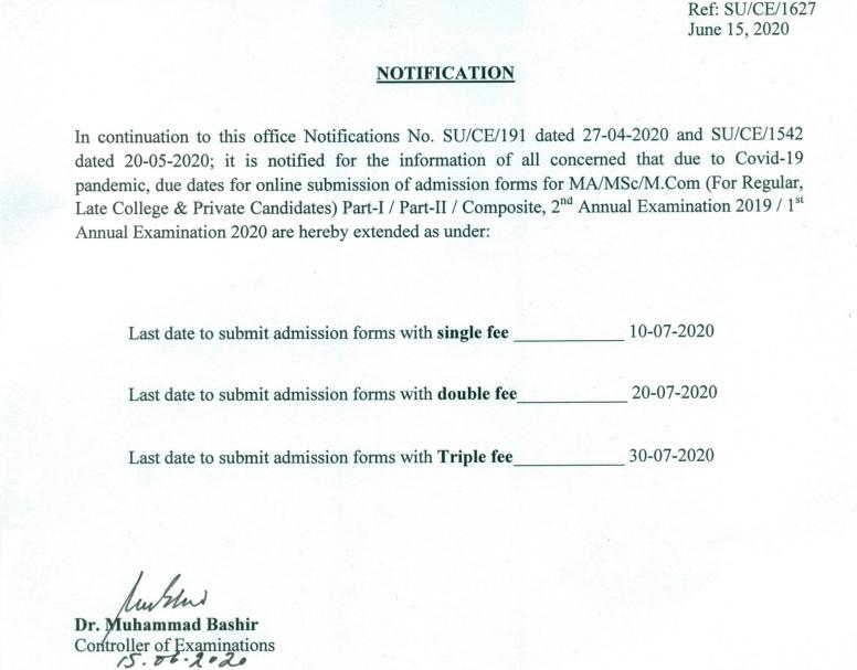 UOS MA MSC admission Notice last date