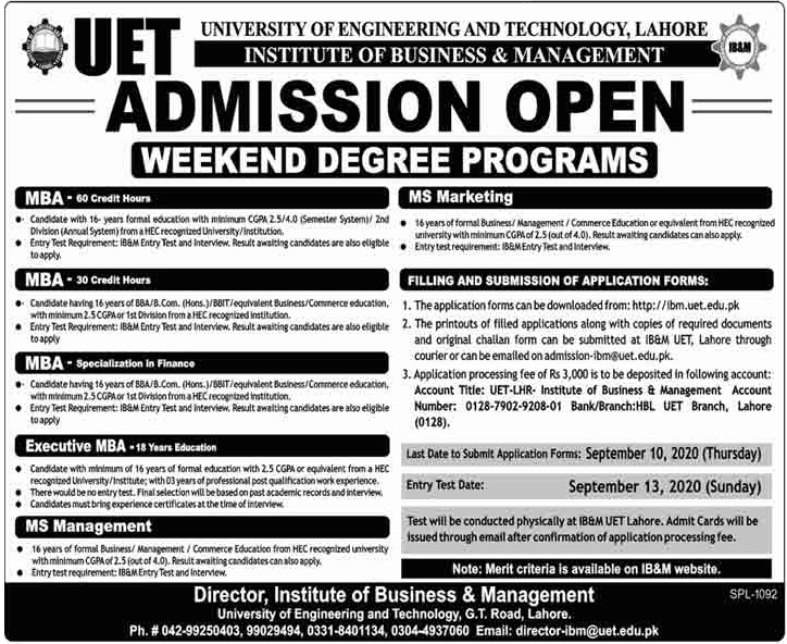 University Of Engineering & Technology Lahore Admissions weekend