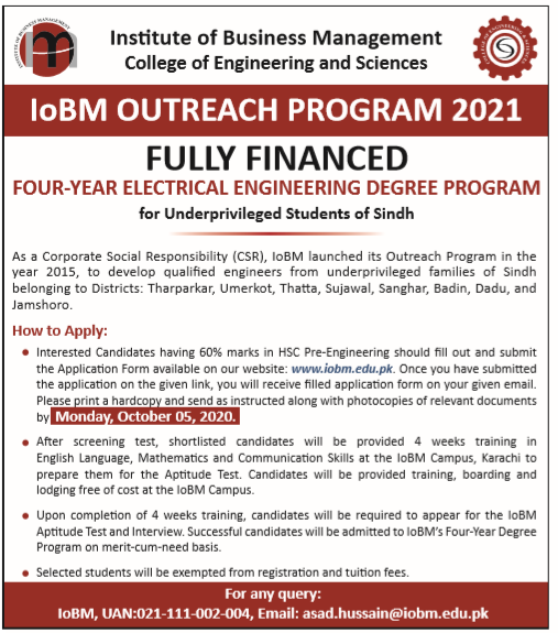 Iobm four year electrical engineering outreach