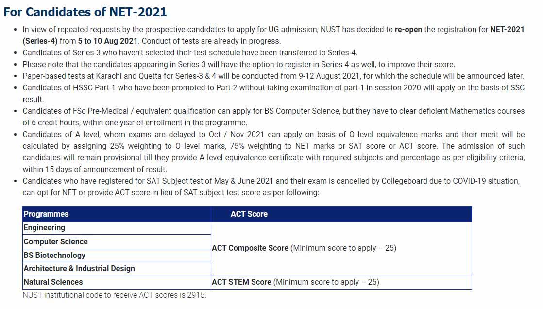Nust University Admission 2021 ad