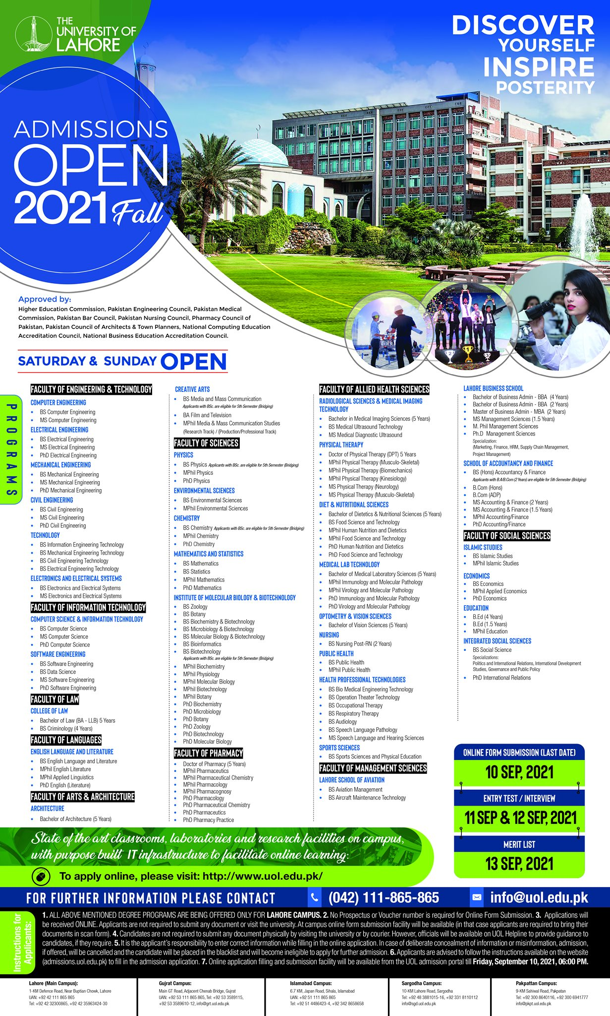 UOL admission 2021 last date